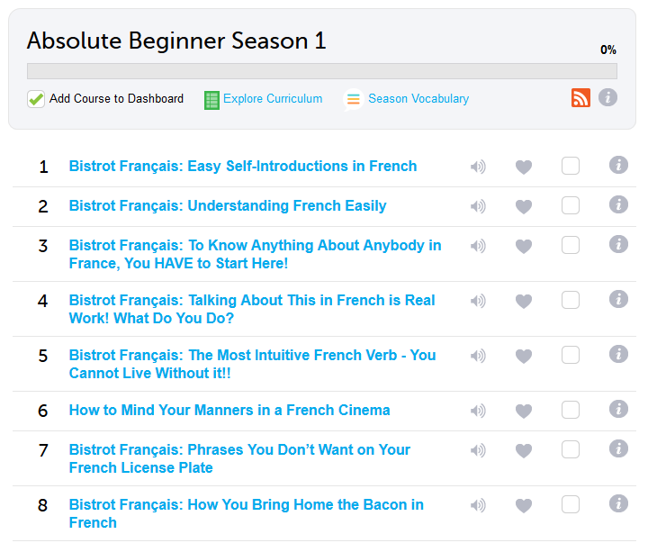 French Pod 101 Absolute Beginner Season 1