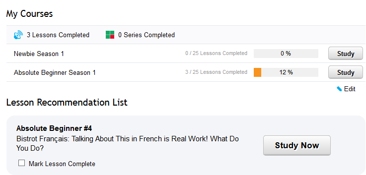French Pod 101 My Courses