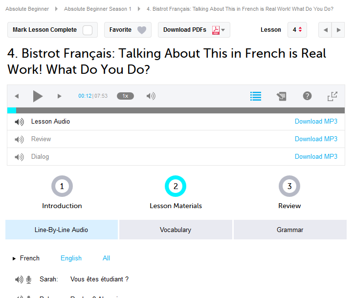 French Pod 101 Lesson Review